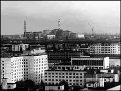 A view of Chornobyl from Pripyat