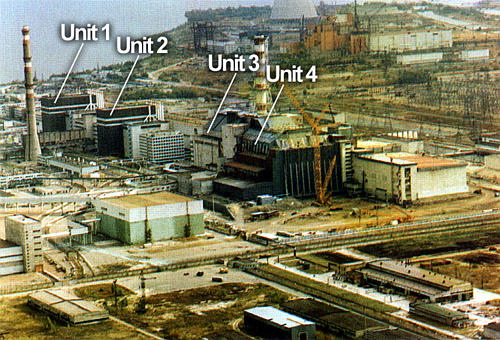 Four reactors at Chornobyl nuclear power plant